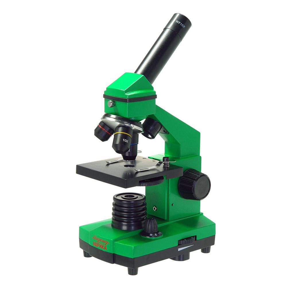 Микроскоп школьный Эврика 40х-400х в кейсе (лайм)