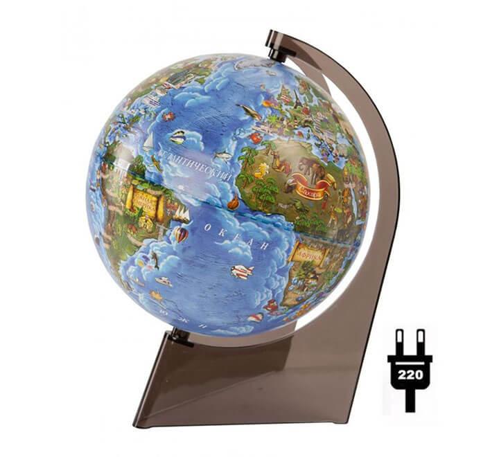 Глобус Земли для детей с подсветкой диаметр 210 мм
